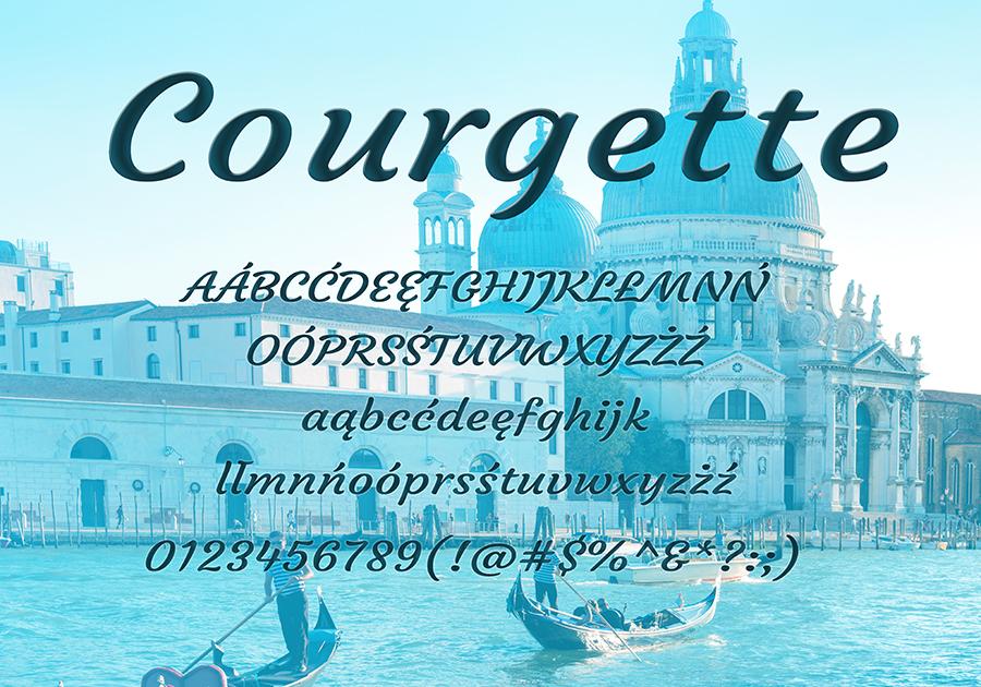 Darmowa czcionka Courgette dla użytku prywatnego i komercyjnego