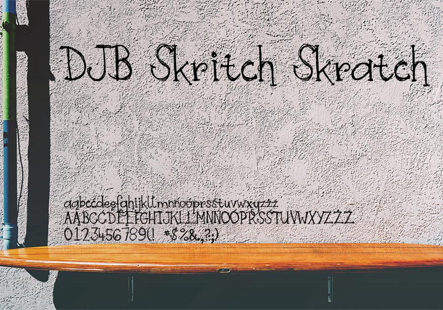 Font DJB Skritch Skratch40 - darmowy dla użytku prywatnego, płatny dla komercyjnego