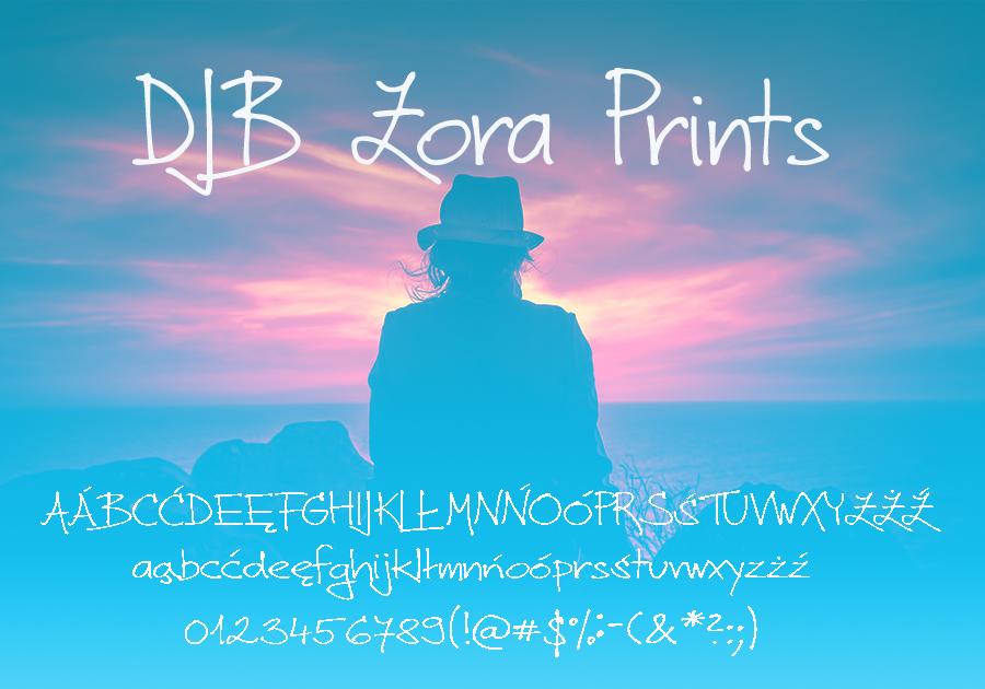 Czcionka DJB Zora Prints39 dla użytku prywatnego darmowa