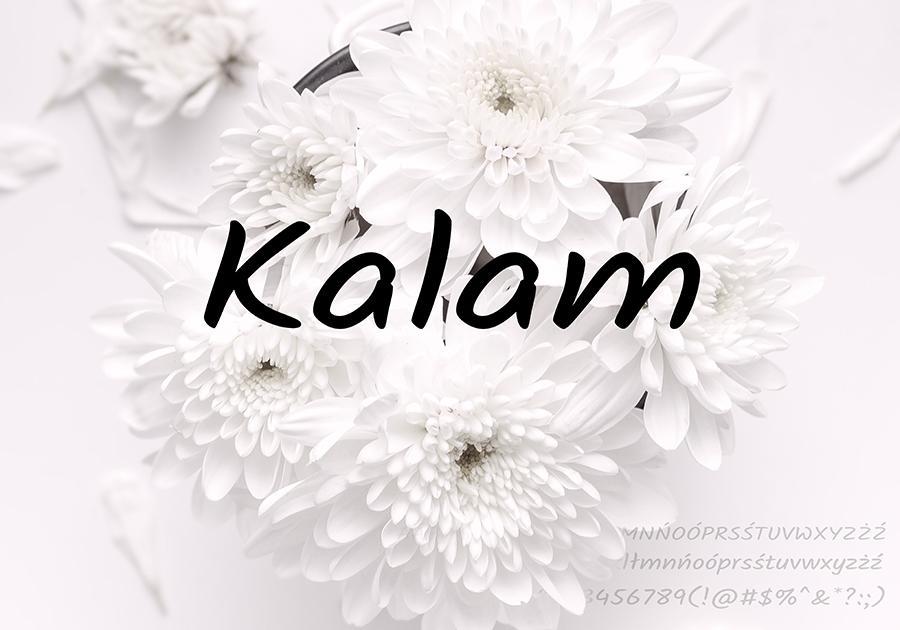 Kalam - czcionka darmowa do użytku prywatnego, do komercyjnego za opłatą