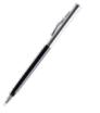 długopis metalowy z czarno-srebrnym korpusem
